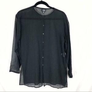 Eileen Fisher Petite Sheer Black Button Down Top